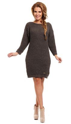 Rochie moderna, tricotata, de culoare gri-inchis - Rochie moderna, tricotata, de culoare gri-inchis. Are maneci lungi si decolteu la baza gatului, tip barcuta. Este forte lejer si potrivit zilelor racoroase. Colectia Rochii de toamna iarna de la  www.rochii-ieftine.net Casual, Sweaters, Dresses, Fashion, Tricot, Vestidos, Moda, Fashion Styles, Sweater