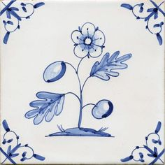 Delft tile featuring Flower