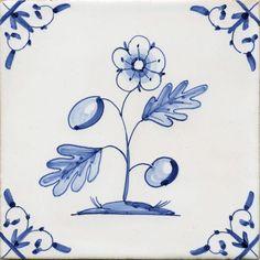 Delft tile featuring Flower