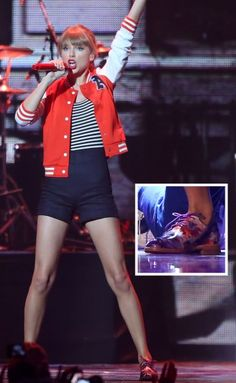 Taylor Swift's red jacket on the Arias
