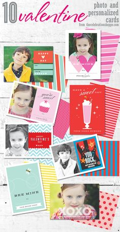 10 mini Valentine photo & personalized cards from thecelebrationshoppe.com ~ perfect for class valentines... and for grandma! #valentinecards #diyvalentine #classvalentines