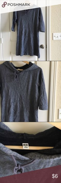 UNIQLO Tunic Hoodie Sweatshirt I am selling this dark blue tunic hoodie dress sweatshirt from UNIQLO, size Small. It is very soft and comfortable and perfect with black leggings Uniqlo Sweaters