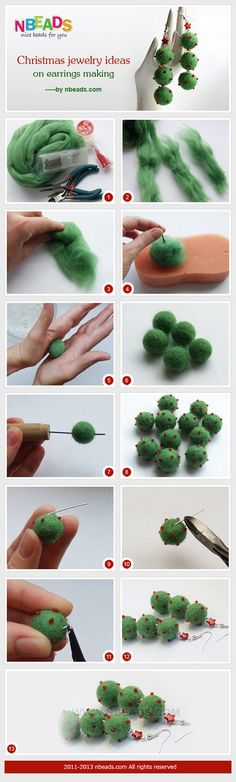 DIY Felt Ball Jewelry Ideas and Inspiration by DIY Ready at http://diyready.com/diy-projects-with-felt-balls/ ‎