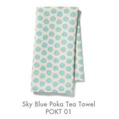 """Pehr Designs/Jameson collection modern dishtowels cotton/linen 18"""" X 24"""".  Sky blue, navy, yellow, coral or olive """"Poka""""."""