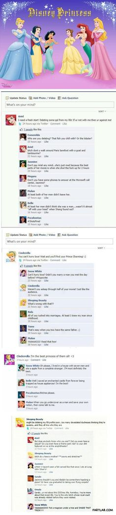 Disney princess Facebook drama. Actually dying though