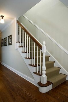 STAIRS: Traditonal home pale green walls white wood trim chair rail on stairway carpet runner Painted Staircases, Wood Staircase, Wooden Stairs, Staircase Design, Staircase Ideas, Stairway Carpet, Staircase Carpet Runner, Carpet Stairs, Wall Carpet