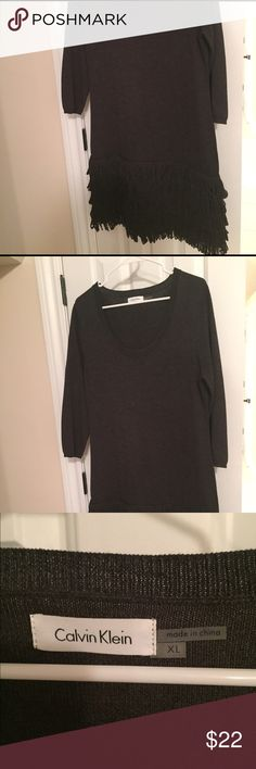 Calvin Klein dress. 3/4 sleeves. Fringed bottom. Calvin Klein dress.  Dark grey. Smoke free home. Calvin Klein Dresses Mini