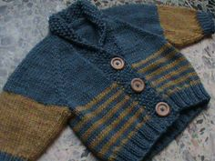 """Denise or Denephew? - My sister-in-law was about to have a baby, and I wanted to make something gender-neutral since I didn't know if it would be a boy or a girl (hence the pattern name). Turned out to be a baby girl (her name is not Denise, though!). This chunky shawl-collared cardigan is knit seamlessly from the top down, increasing along the raglan lines. The body is worked flat on a 29"""" circular needle, and the sleeves are picked up and knit in the round from the top down on double…"""