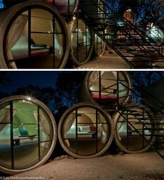 Following the successful launch of a series of tubes-turned-hostel-rooms in Berlin, Germany, a few years back, this new destination quite literally takes things to a fresh level by stacking similar concrete drainage pipes for multi-room, two-story stays outside of Mexico City, Mexico.