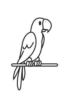 Kleurplaat papegaai