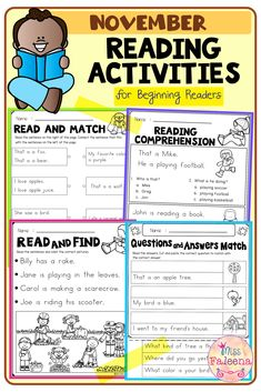 November Reading Activities contains 20 pages of reading activities worksheets. This product is suitable for kindergarten through first grade students. Kindergarten | Kindergarten Worksheets | First Grade | First Grade Worksheets | Reading Activities | Reading Skills | Read and Match | Reading Comprehension Read and Draw | Questions and Answers | Fall Reading Activities | Thanksgiving | Morning Work First Grade Worksheets, Kindergarten Worksheets, Reading Activities, Reading Skills, Morning Work, English Vocabulary, Free Reading, Reading Comprehension, Sentences