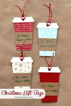 Coffee or Latte Container Christmas Gift Tags With Free Cut File | Simply Kelly Designs - The BEST Christmas and Holiday FREE Printables - Gift Tags - Gift Card Holders - Christmas Greeting Cards and more FREE Downloadable Printables for the Holiday Seasons