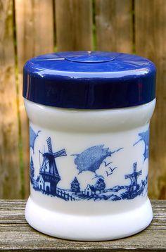 Vintage Milk Glass Canister Humidor Tobacco Storage Jar Delft Dutch Windmill Ship #MilkGlass #Canister #Delft #Dutch #Blue