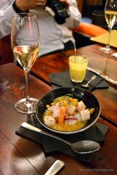 Cava tasting at Copa de Cava, Blackfriars. This is their wonderful ceviche with hunks of stonebass and prawns in a bath of lime, chilli and onions.