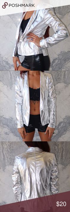 Metallic Silver Blazer NEW WITH TAGS metallic silver blazer. Space Age Galaxy voyage. Lightweight and super comfortable. Jackets & Coats Blazers