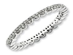 White Gold over Silver Diamond Eternity Stack Scalloped Ring Band (Available online at Gemologica.com)