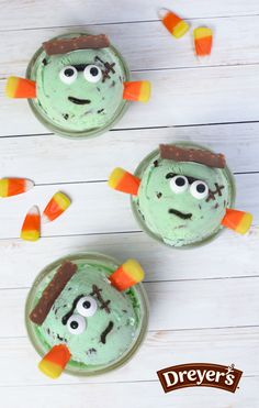 """Start with a scoop of mint chocolate chip ice cream, add a Nestle Crunch bar, candy eyes, sprinkles, icing and candy corn """"bolts."""""""