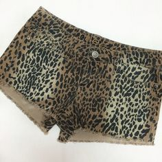 "✨HP✨ Leopard print denim cut off shorts  These are amazing! Super cute for any time of year and the coloring is just perfect! Pair this with olive or coral and you've got a great and easy chic look! Size 5/6 from Rue 21 and in VGUC. They have really slight ""distressing"" with thread irregularities that keep these shorts fun. Some piling *inside* on the pockets, but nothing else to note.  Rue 21 Shorts Jean Shorts"
