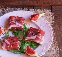 Dulces bocados: Higos y queso de cabra envueltos en jamón iberico Montechico