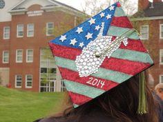 Glitter American flag with rhinestone WV graduation cap