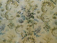 Antique-French-Roses-Lilacs-Ribbons-Tapestry-Fabric-Blue-Lavender-Camel-Mustard