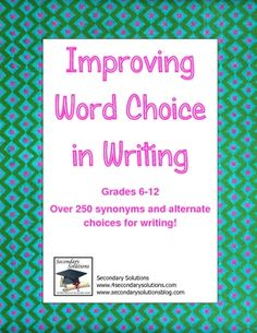 Free!!! Huge list of words to help students make better word choices in their writing!  Awesome !!!!