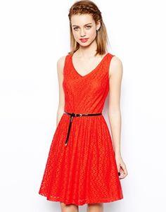 New Look V Neck Lace Skater Dress
