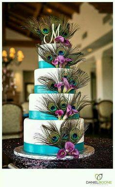 Peacock theme cake Perfect Wedding, Our Wedding, Wedding 2017, Dream Wedding, Peacock Theme, Peacock Design, Purple Wedding, Peacock Wedding Flowers, Peacock Cake