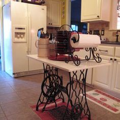 Repurposed sewing table being used as a kitchen island