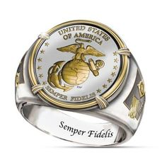 The USMC Commemorative Proof Ring Celebrates Anniversary Marine Corps Rings, Marine Corps Emblem, Us Marine Corps, Usmc Ring, Sea Glass Jewelry, Fine Jewelry, Commitment Rings, Mens Stainless Steel Rings, Bradford Exchange