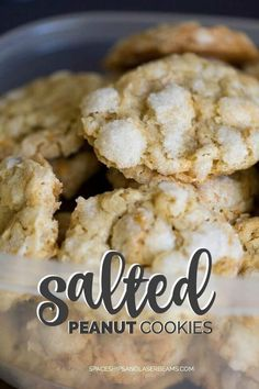 These salted peanut butter cookies are absolutely divine: flaky, crispy and full of flavor -- an easy homemade favorite! Back when I was growing up, my dad's brother lived with us for about a year. Crispy Cookies, Peanut Butter Cookies, Yummy Cookies, Cake Cookies, Cupcakes, Cookie Desserts, Easy Desserts, Dessert Recipes, Homemade Peanut Butter