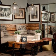 diy rustic industrial seating & Industrial chic room design via Pure Home Source by acecae The post Fifteen Ideas For Decorating Rustic Chic & Rustic Crafts & Chic Decor appeared first on George Garden Services. Industrial Design Furniture, Industrial House, Furniture Design, Vintage Industrial, Palette Furniture, Kitchen Industrial, Industrial Restaurant, Industrial Living Rooms, Industrial Shelving