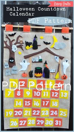 Build-A-Scene Halloween Countdown Calendar  PDF Pattern