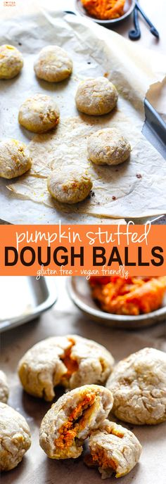 Healthy Pumpkin Stuffed Dough Balls; 2 Ways! An easy pumpkin filled snack that you can make in 30 minutes. Sweet or savory, you choose! All you need is your choice of milk, gluten free flour, and filling! Great for holidays, appetizers, snacks, and breakf