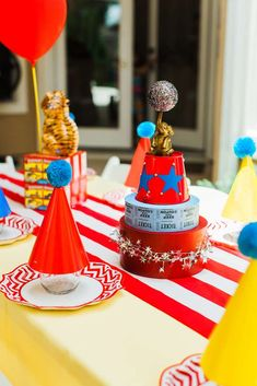 """Kara's Party Ideas """"The Greatest Showman"""" Circus Birthday Party Carnival Themed Party, Carnival Birthday Parties, Circus Birthday, 1st Boy Birthday, Circus Party Centerpieces, Birthday Decorations, Birthday Party Tables, Birthday Ideas, Circus Theme Cakes"""