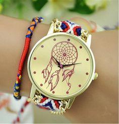 NEW Hippie Native American Atrapasueno Lace Women Watch MEXICAN Fashion woman wristwatch Fabric Bracelet watch