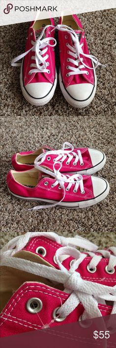 Hot Pink Converse All Star Converse all star Chuck Taylor's. Brand new with plastic tag, I took off tag and no box. Men size 7 and women size 9. Low top style. Super fun in hot pink color! Converse Shoes