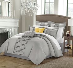 Amazon.com - Ruthie 8-Piece Brushed Microfiber Comforter Set, Queen, Silver; Shams, Decorative Pillows and Bedskirt Included -