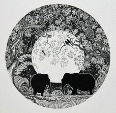 Print of Elephant and black and white print and print from original elephant drawing and print of elephants in black and white and ink art