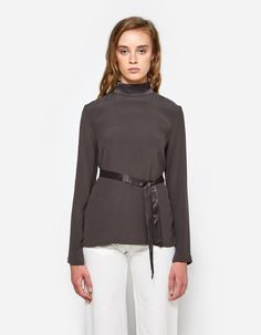 Tie Back Long Sleeve Top in Army