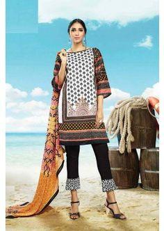 White, Black Cotton Salwar Kameez, - £74.00, #IndianFashion #DesignerSalwarKameez #ShopNow #Shopkund