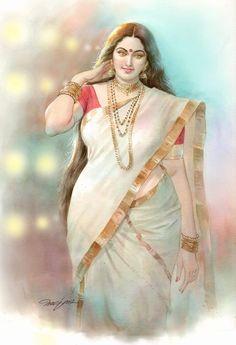 Artist Mohan Indian Women Painting, Indian Art Paintings, Sexy Painting, Woman Painting, Beautiful Girl Indian, Beautiful Indian Actress, Beauty Full Girl, Beauty Women, Indian Art Gallery