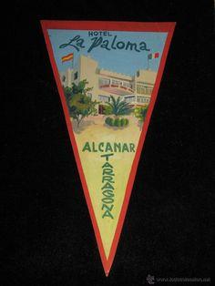 BOCETO ORIGINAL CARTULINA PINTADO A MANO - BANDERIN - HOTEL LA PALOMA - ALCANAR - TARRAGONA