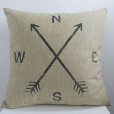 Vintage Home Decor Cotton Linen Throw Pillow Cover Crossed Arrow Compass | Overstock.com Shopping - The Best Deals on Throw Pillows