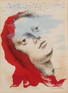 Adolphe Mouron CASSANDRE (1901-1968) Marianne, 1939 Lithographie rehaussée de gouache rouge. Signée et datée dans la planche. 36 x 26.5 cm Cette pièce, jamais passée en vente n'est pas répertoriée dans les archives de l'artiste.  Ader à Paris   Estimation : 2 000 € - 3 000 €  Mardi 20 octobre 2015