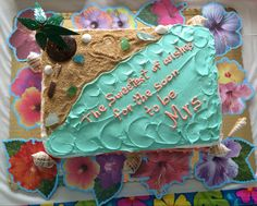 """Tropical Island themed bridal shower cake. """"For the NEW Mrs."""""""