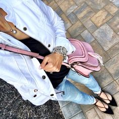 IG @MrsCasual <click through to shop this look> Summer Jacket on Sale. Pink tassel cross body bag. Lace up flats. Check it out on mrscasual.com!