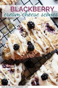 Tender and flaky scones are studded with sweet tart blackberries and topped with a rich cream cheese glaze for a winning combination. Blackberry Recipes, Strawberry Desserts, Blackberry Scones, Lemon Scones, Easy Gluten Free Desserts, Easy Desserts, Delicious Desserts, Keto Desserts, Cheesecake Oreo