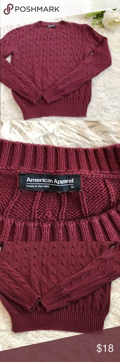 American Apparel red cropped sweater In great condition- no rips or stains! Size medium. Cropped at the bottom! 100% cotton. Sleeve length: 22in. Length: 19in. Chest: 14in. Willing to negotiate price! Ships from the United States. American Apparel Sweaters Crew & Scoop Necks