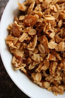Granola... coconut,honey, almond, pecan I added pumpkin pie spice & maple syrup, lets see how it turns out... 15 minutes is DONE.